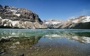 Картинка озеро, горы, лед, зима, Banff National Park, Канада