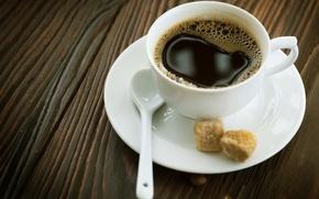 Картинка макро, фон, обои, кофе, сахар, чашка с кофе, стол.ложка