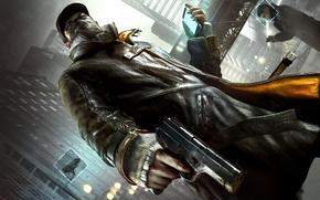 Обои взгляд, город, пистолет, оружие, маска, телефон, Watch Dogs, Эйден Пирс, Сторожевые Псы
