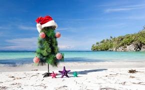 Картинка песок, море, пляж, украшения, игрушки, елка, Новый Год, ракушки, beach, sea, sand, shore