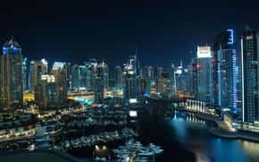 Картинка city, дома, порт, Дубай, катера, Dubai, высотки, Emirates, ночь., United, Arab, Эмираты, Dubai marina, Арабские, …