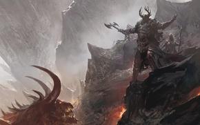 Обои топор, горы, рогатый, шлем, демон, лава, воины