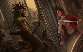 Картинка змеи, камни, медуза, меч, арт, колонны, мужчина, статуи, Jon Hrubesch, горгона