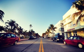 Картинка дорога, авто, небо, пальмы, улица, Майами, Флорида, Miami, florida, отели, vice city, South Beach