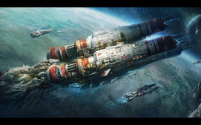 Обои ракета, spaceship, арт, фантастика, планета, звезды, космос