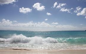Обои песок, море, волны, небо, солнце, облака, брызги, горизонт