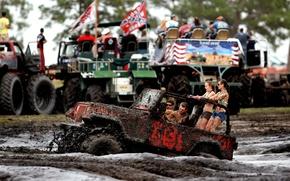 Картинка девушки, грязь, внедорожник, Джип, парни, Wrangler, Ренглер, Jeep, своя атмосфера