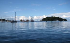 Картинка Небо, Море, Остров, Яхты