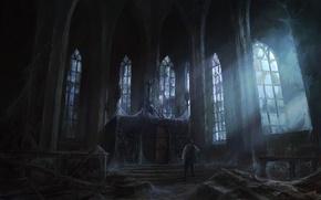 Картинка свет, замок, человек, окна, паутина, арт, храм, заброшенность, мрачно, peteamachree