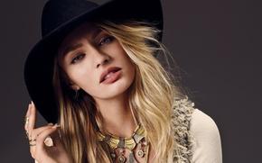 Картинка взгляд, модель, шляпа, блондинка, Candice Swanepoel, Victoria's Secret