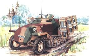 Картинка рисунок, Вторая мировая война, средний, бронетранспортёр, Wurfrahmen 40, германский, полугусеничный, калибра 280 и 320 мм, …