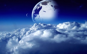 Картинка небо, космос, облака, синий, голубой, луна, планета, space, moon, sky, blue, clouds, planet