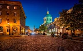 Картинка ночь, город, огни, улица, брусчатка, Канада, фонари, Монреаль, Canada, скамейки, лавки, Quebec, Квебек, Montréal