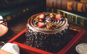 Обои книги, шоколад, клубника, торт, орехи, крем, голубика