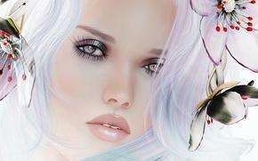 Картинка взгляд, девушка, цветы, лицо, портрет