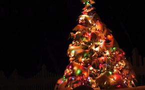 Картинка украшения, ночь, огни, елка, новый год