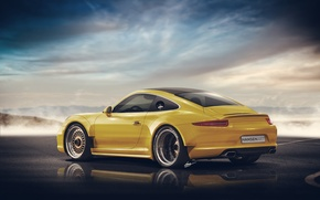 Картинка Porsche 911, yellow, rear, Widebody, Hansen Art
