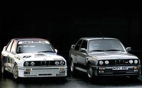 Обои гоночный болид, E30, DTM, BMW, 1987, чёрный фон, передок.серый