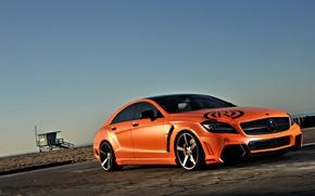 Картинка пляж, небо, оранжевый, тюнинг, Mercedes-Benz, AMG, orange, мерседес бенц, CLS-Klasse, C218, CLS 63