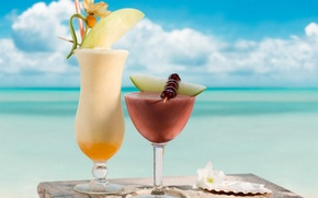Обои отдых, небо, океан, напиток, напитки, коктейли, коктейль