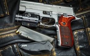 Картинка пистолет, оружие, нож, Sig P226