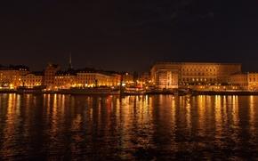 Картинка широкоэкранные, Стокгольм, HD wallpapers, обои, lights, огни, ночь, night, полноэкранные, background, набережная, fullscreen, широкоформатные, фон, ...