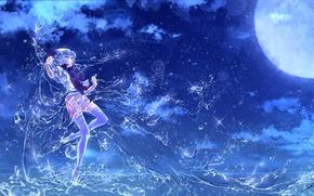 Картинка вода, девушка, ночь, магия, полнолуние, touhou, remilia scarlet, art, etna