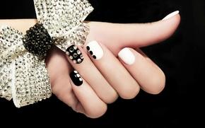 Картинка белое, руки, черное, стразы, бант, ногти, маникюр, nail, Hands, Manicure, Bowknot