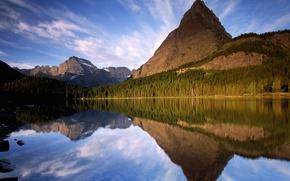 Обои деревья, озеро, отражение, горы