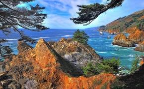 Картинка море, небо, деревья, горы