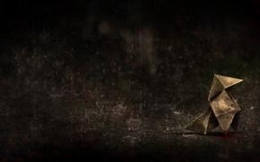 Картинка дождь, птица, отчаяние, ливень, оригами, HEAVY RAIN