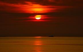 Картинка море, небо, солнце, облака, закат, корабль