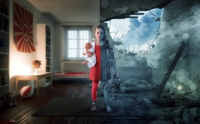 Картинка война, мир, девочка