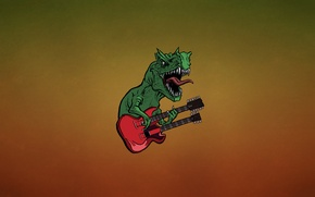 Картинка язык, красный, зеленый, гитара, динозавр, минимализм, зубы, хард, ящер, клыки, guitar, dino, темноватый фон, dinosaur