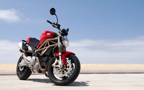 Картинка red, Ducati, Monster, beach, road, sky, 696