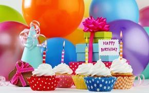 Картинка шары, свечи, подарки, Happy Birthday, cupcake, кексы, День Рождения