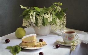 Обои торт, яблоко, натюрморт, чай, черемуха, вишня
