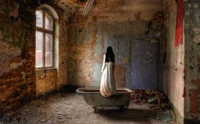 Обои опустошение, заброшенное, в крови, ванна, девушка, одна