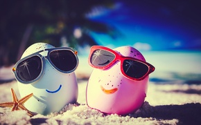 Картинка summer, happy, beach, eggs, funny, glasses, cute, tropical