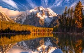 Картинка лес, небо, облака, снег, деревья, закат, горы, озеро, отражение