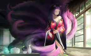 Картинка девушка, дом, комната, аниме, арт, посуда, кимоно, ушки, хвосты, kikivi, joymax