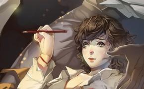 Картинка эльф, рука, защита, девочка, статуя