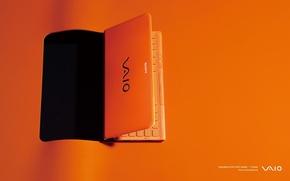 Картинка оранжевый фон, sony, оранжевый ноутбук