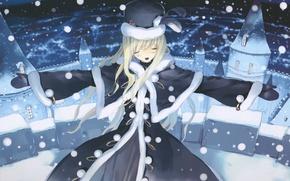 Картинка зима, снег, замок, вечер, алиса, пальто, art, alice in wonderland, ueda ryou