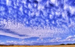 Обои небо, синий, Перистые облака