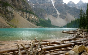 Обои горы, вырубка, брёвна, скалы, переправа, река, лес