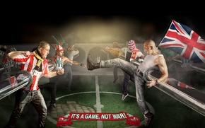 Картинка фон, футбол, драка, флаги, фанаты, football, Это игра-а не война, It's a game-not war