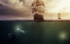 Картинка море, корабль, монстры, пираты