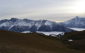 Картинка Небо, Природа, Облака, Горы, Россия, Пейзаж, Кавказ, Северная Осетия, Ингушетия