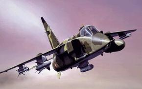 Картинка war, art, airplane, painting, aviation, jet, Sepecat Jaguar